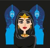 Portrait of muslim beautiful girl in hijab. Vector Illustration Stock Photos