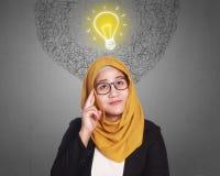 Muslim Businesswoman Getting Idea Stock Photography