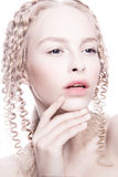 Portrait of mysterious albino woman Royalty Free Stock Images