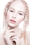 Portrait of mysterious albino woman Royalty Free Stock Photo