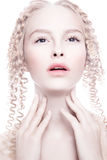 Portrait of mysterious albino woman Stock Photos
