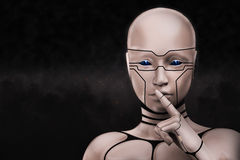 Portrait of a mysterious cyborg woman. 3D rendering illustration Royalty Free Stock Photography