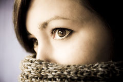 Portrait of mysterious woman Stock Images
