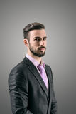 Portrait of mysterious young bearded man Stock Photos