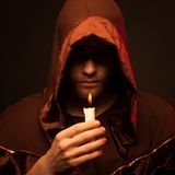 Portrait of mystery unrecognizable monk Royalty Free Stock Image