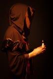 Portrait of mystery unrecognizable monk. In robe Stock Photo