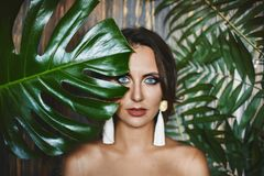 Portrait of naked brunette model girl with amazing blue eyes and stylish earrings, looks through the big green leaves royalty free stock images