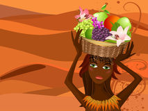 Portrait of a native with a fruit basket Royalty Free Stock Photography