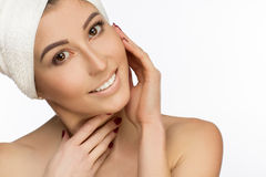 Portrait of natural women in white turban. stock images
