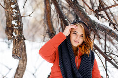 Portrait of a natural, young and beautiful  woman in a winter pa Stock Images