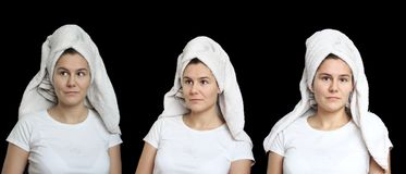 Portrait of natural young woman with a towel on her head. Set of three photos isolated on black. Spa welness bath topic. Photo royalty free stock image