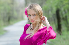 Portrait of naturally beautiful blond woman Stock Images