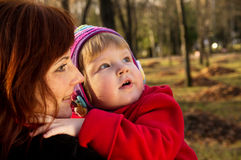 Portrait in nature mom and baby in autumn Royalty Free Stock Photo