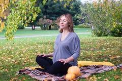 Portrait naturel d'automne extérieur de belle femme enceinte, pregnance heureux image libre de droits