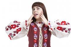 Portrait naturel d'exclamation faciale positive femelle émotive caucasienne de Demnonstrating Photographie stock