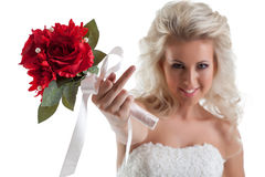 Portrait of naughty bride shows rude gesture Stock Photo
