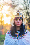 Portrait of Nefertiti at sunset. Portrait of the girl in the image of Nefertiti at sunset Stock Images