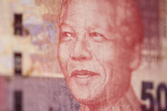 Portrait of Nelson Mandela at 50 rand. Very sharp macro picture Royalty Free Stock Photo