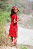 Portrait of Nepalese girl in red dress Royalty Free Stock Images
