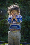 Portrait nepali child on the street in Himalayan village, Nepal Royalty Free Stock Photo