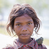 Portrait nepali child on the street in Himalayan village, Nepal Royalty Free Stock Photos