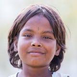 Portrait nepali child on the street in Himalayan village, Nepal Stock Photo