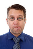 Portrait of nerdy geek making funny face Royalty Free Stock Photo