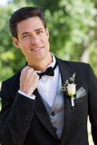 Portrait of nervous bridegroom. In garden stock images