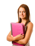 Portrait of nervous shy teenage schoolgirl Royalty Free Stock Photo