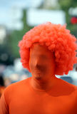 Portrait of netherlands fans on orange costume Stock Image