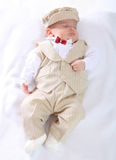Portrait of a newborn baby boy Stock Images