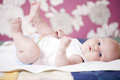 Portrait of a newborn baby boy at home Stock Image