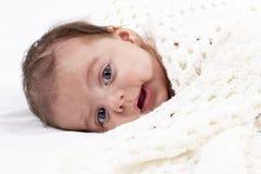 Portrait of a newborn baby closeup Stock Photos