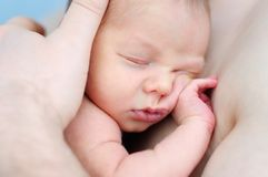 Portrait of newborn baby. Father holding his sweet newborn baby Stock Photo