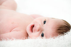 Portrait newborn baby lying in bed Stock Photos