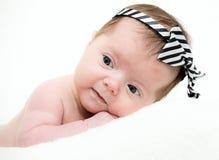 Portrait newborn baby  lying in bed Stock Photo