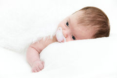 Portrait newborn baby lying in bed Royalty Free Stock Image