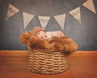 Portrait of a Newborn Baby Sleeping on Basket. A portrait of a little newborn baby sleeping on a fur blanket on top of old basket for love or celebration royalty free stock photography