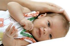 Portrait of the newborn girl Stock Image