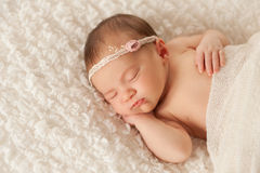 Portrait of a Newborn Girl with Lace Headband Royalty Free Stock Photo