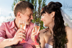 Portrait of newly married couple drinking champagne at field Stock Photos