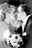 Portrait of newly married couple licking one lollipop Royalty Free Stock Images