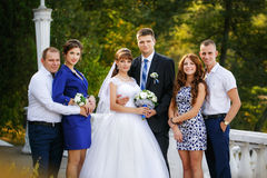 Portrait of newlywed couple with bridesmaids and groomsmen Royalty Free Stock Photo