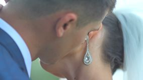 Portrait of newlywed couple in love. stock video footage