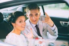 Portrait Of Newlywed Couple Smiling Stock Photo