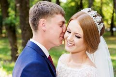 Portrait of a newlywed couple on a wedding walk. Concept of a happy young couple. royalty free stock photography