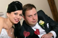 Portrait of newlyweds Stock Photos