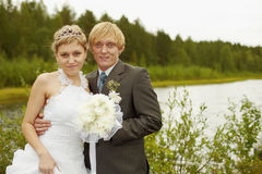 Portrait of newlyweds - outdoor Royalty Free Stock Image