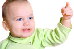 Portrait of nice baby with outstretched hand isolated Stock Photo