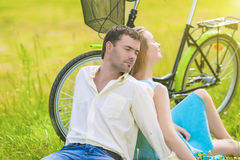 Portrait of Nice Caucasian Couple Relaxing Together Outdoors wit Stock Photo